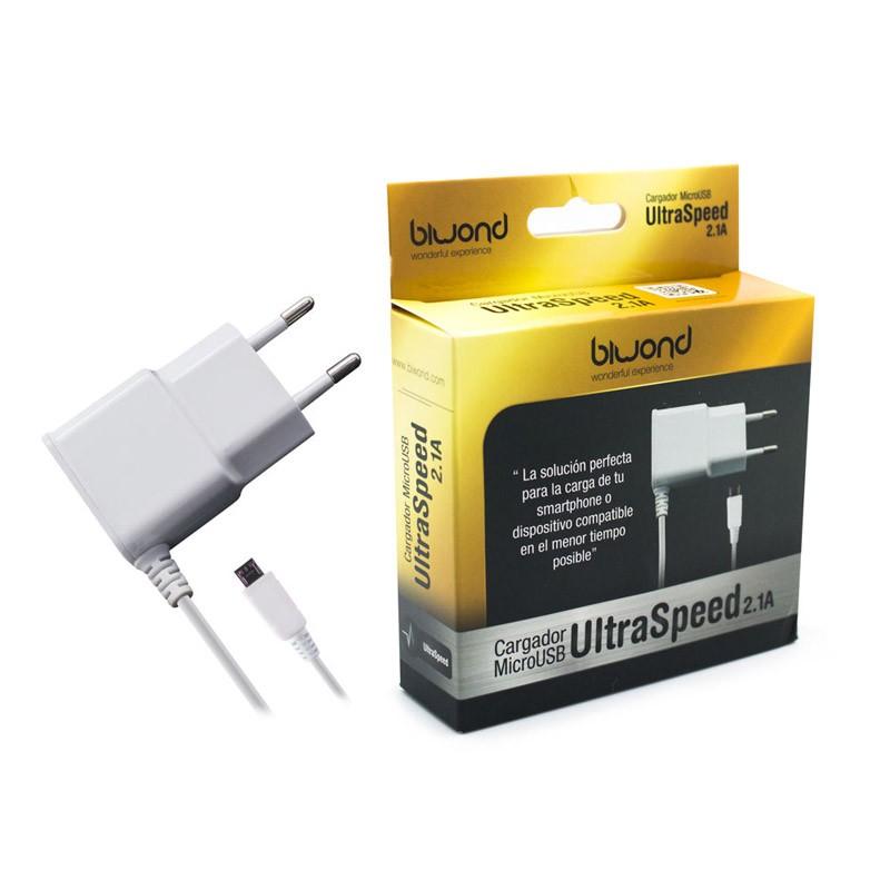 Biwond Cargador MicroUSB Ultraspeed 2.1A Blanco