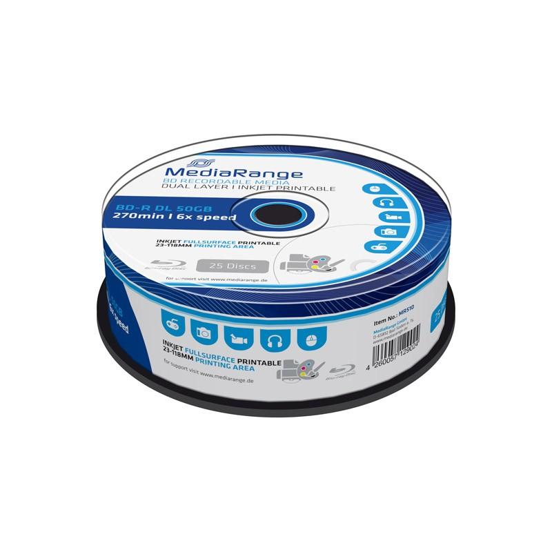 Blu-ray BD-R DL 50GB 6X Mediarange FF Printable InkJet 25 uds