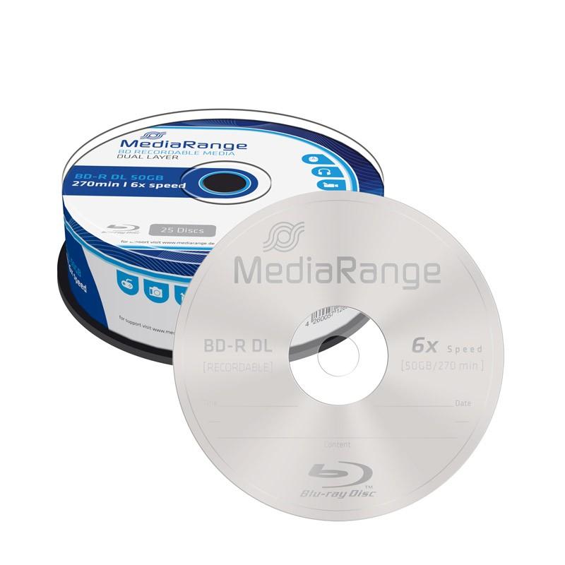 Blu-ray BD-R DL 50GB 6x MediaRange Tarrina 25 uds