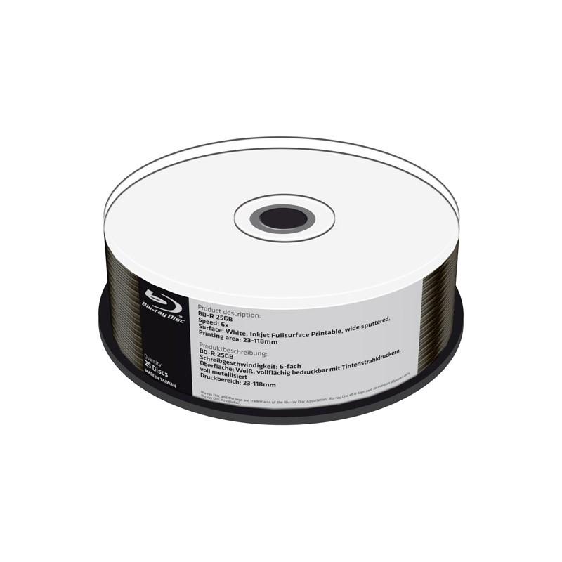 Blu-ray BD-R SL 25GB 6X MediaRange FF Ink Printable Metalizado Inferior Cake 25