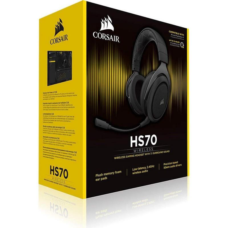 Auriculares Inalámbricos Corsair HS70 Wireless 7.1 Carbón