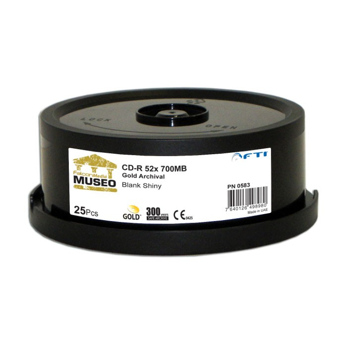 CD-R 52x 700MB Falcon Media Museo Gold Archival Tarrina 25uds