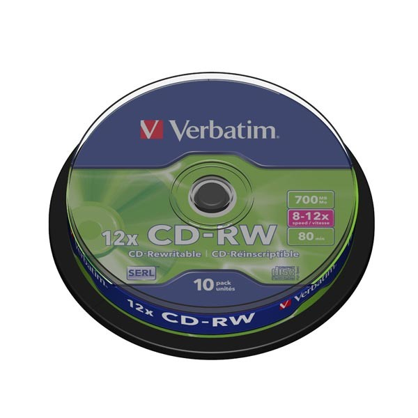 CD-RW 12x 700MB Verbatim Regrabable Tarrina 10 uds