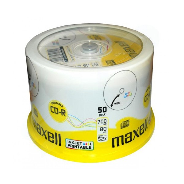 CD-R 52X Maxell InkJet Printable Tarrina 50 pcs
