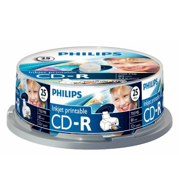 CD-R InkJet Printable Full Face Blanco Philips Tarrina 25 uds