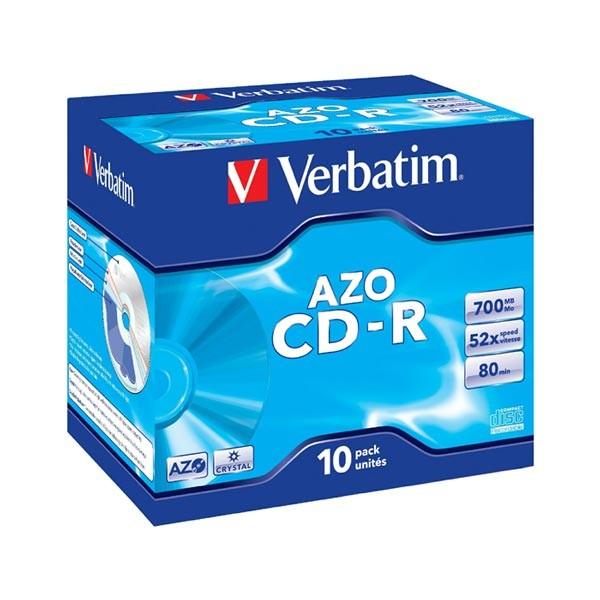 CD-R 52x 700MB Verbatim AZO Crystal Caja Jewel pack 10 uds