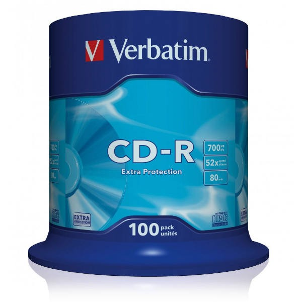 CD-R 52x 700MB Verbatim Extra Protection Tarrina 100 uds