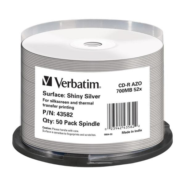 CD-R Verbatim Shiny Silver Thermal Printable Tarrina 50 uds