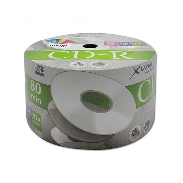 CD-R InkJet Printable Full Face Blanco XLAYER Bobina 50 uds