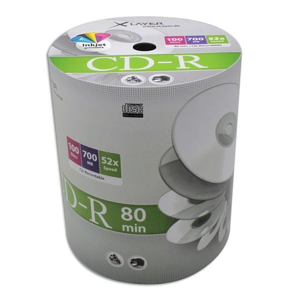 CD-R InkJet Printable Full Face Blanco XLAYER Bobina 100 uds