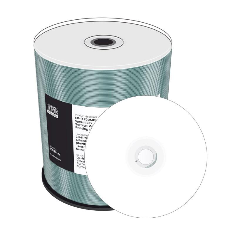 CD-R Mediarange 52x Inkjet FF Plata-Perla Tarrina 100 uds