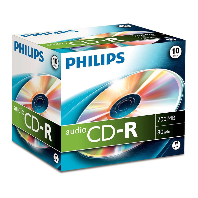 CD-R Audio Philips 80 Minutos Caja Jewel 10 uds