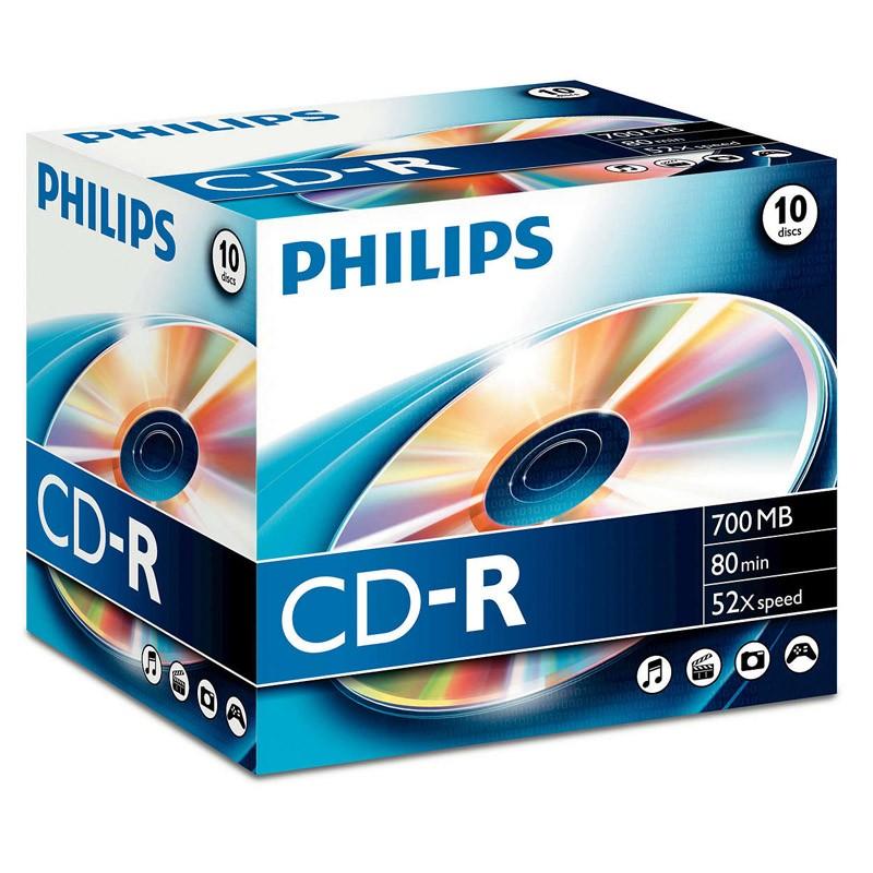 CD-R 52x 700MB Philips Caja Jewel 10 uds