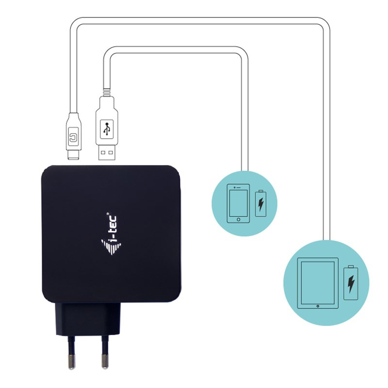 Cargador Universal USB 3.0 + USB Tipo C 3A 60W i-Tec CHARGER-C60WPLUS