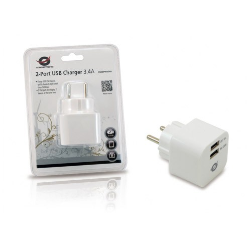 Cargador USB de Pared Conceptronic (2 x USB) 3.4A
