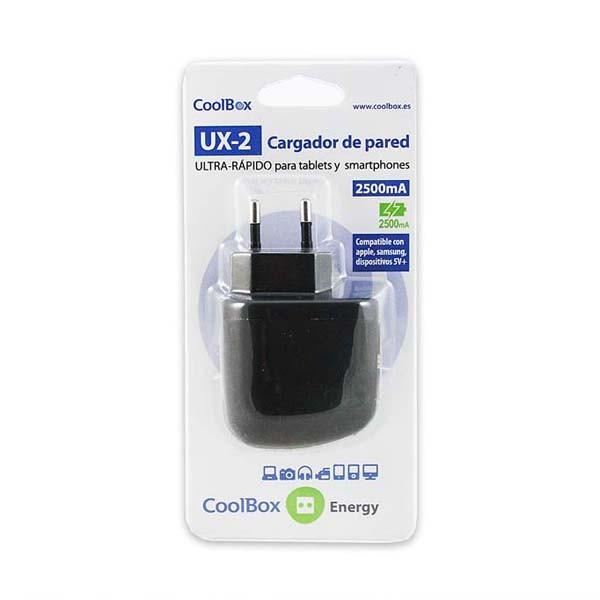 Cargador Universal de Pared CoolBox UX-2 (2 x USB) 1A / 2.0A