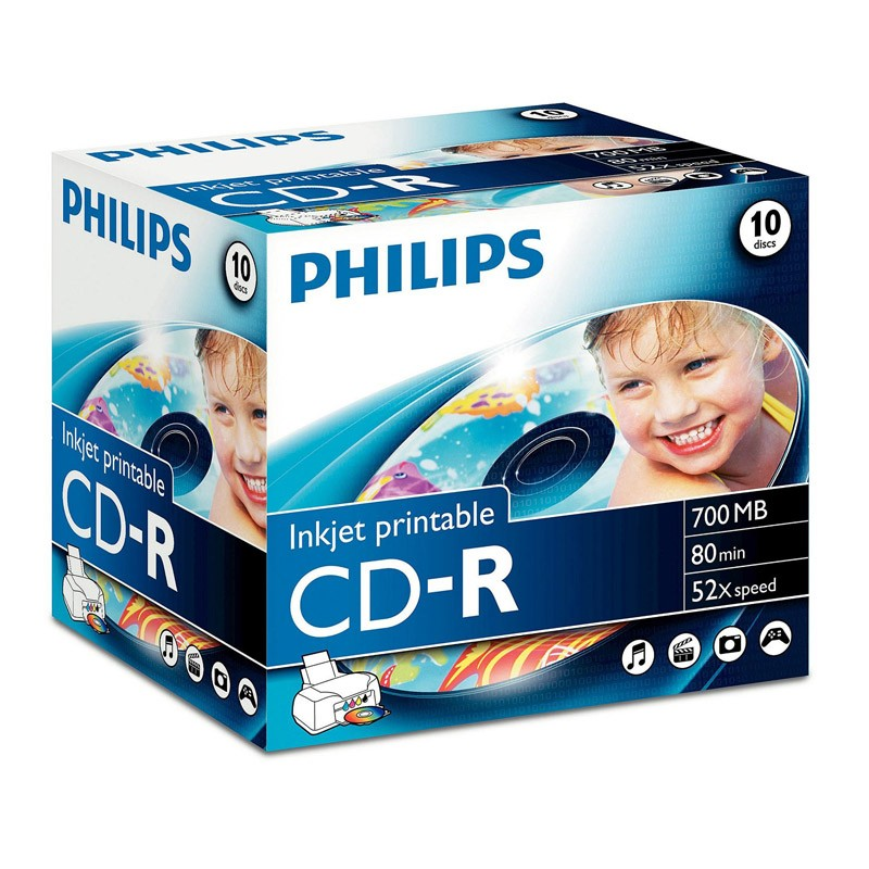 CD-R 52x Printable Philips Caja Jewel 10 uds