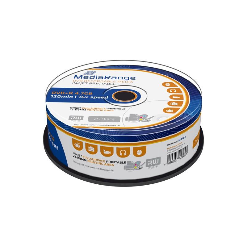 DVD+R 16x Mediarange FF Printable tarrina 25 uds