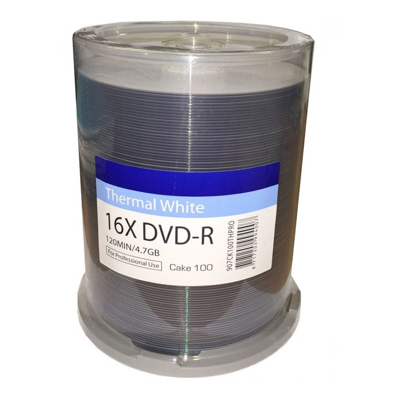 DVD-R 16X Traxdata Pro-Series Thermal Printable FF White Tarrina 100 uds