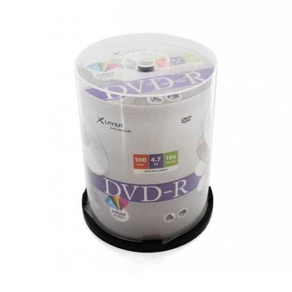 DVD-R 16x Xlayer F.F Inkjet Printable Tarrina 100pcs