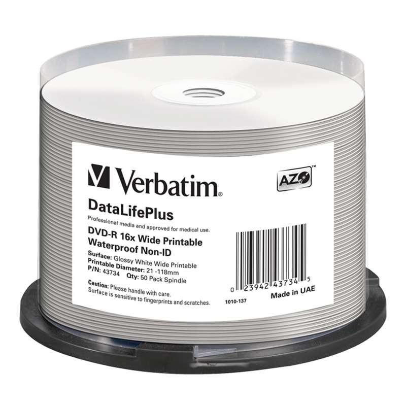 DVD-R 16x Verbatim FF Glossy Impermeable NO ID Tarrina 50 uds