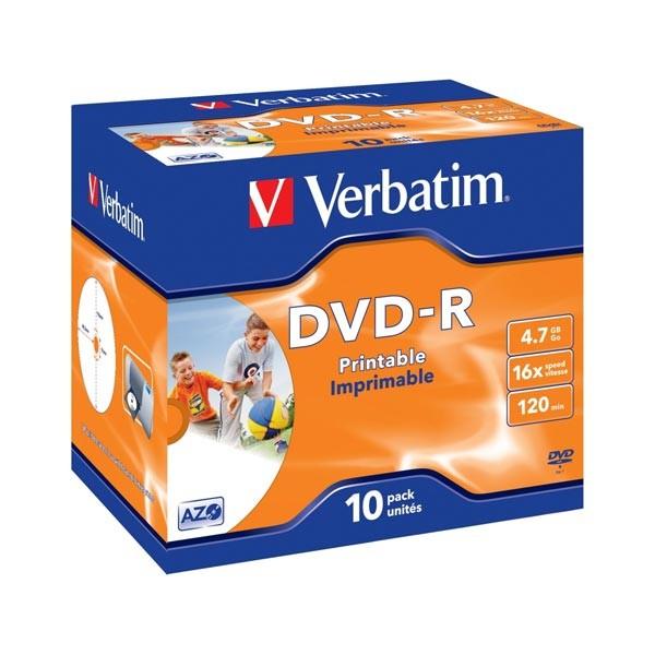 DVD-R 16x Verbatim Printable WIDE ID Caja Jewel 10 uds