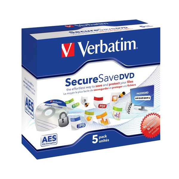 DVD-R Verbatim SecureSave  AES-256-Bit Caja Jewel Pack 5 uds