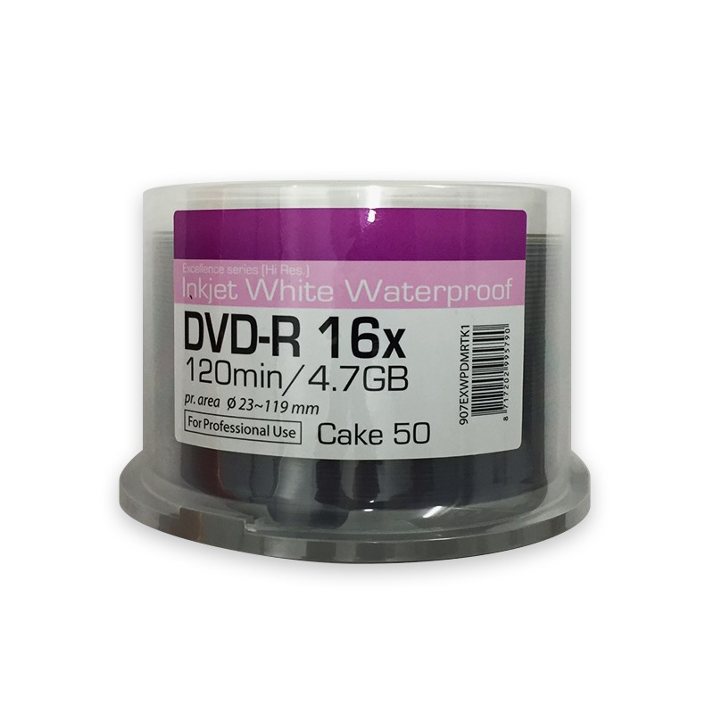 DVD-R 16x Ritek Excellence Series Hi Res Inkjet White Waterproof Tarrina 50 uds