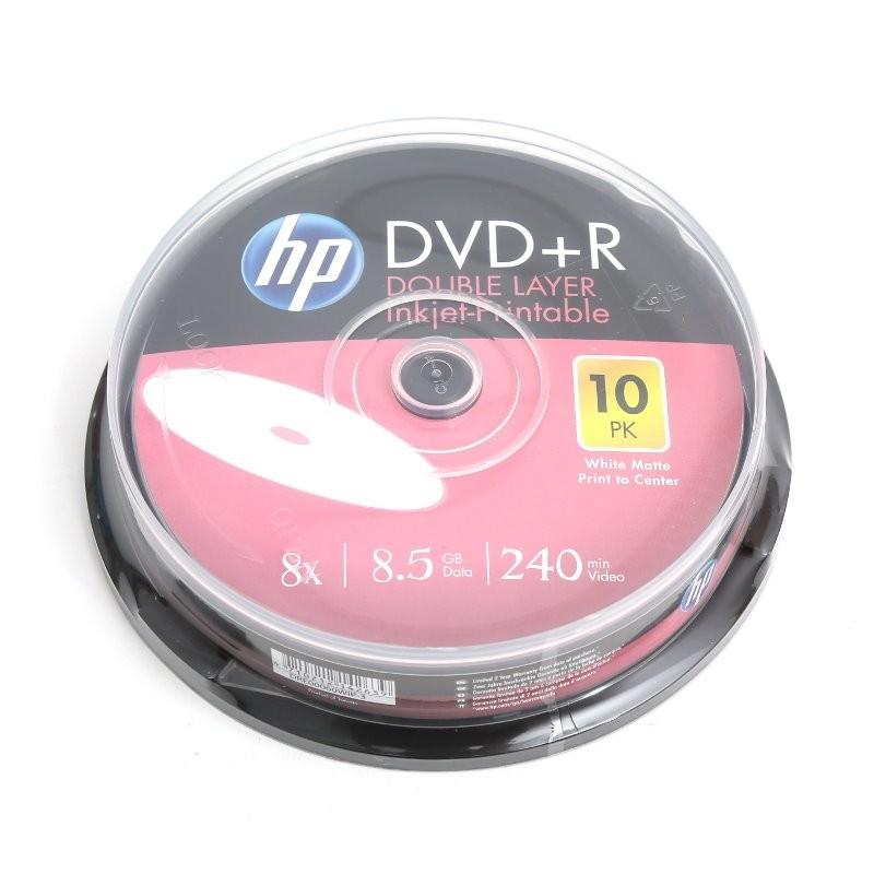 DVD+R Doble Capa 8X HP FF Printable Tarrina 10 uds
