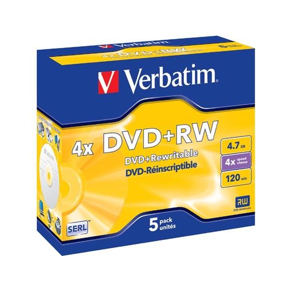 DVD+RW 4x Verbatim Caja Jewel 5 uds
