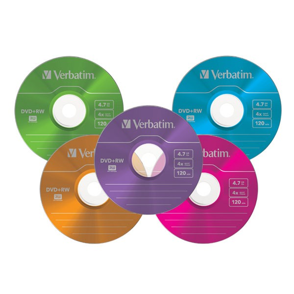 DVD+RW 4x Verbatim Colours Caja Slim 5 uds