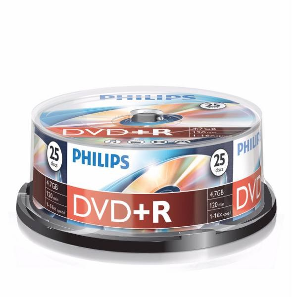 DVD+R 16x Philips Tarrina 25 uds