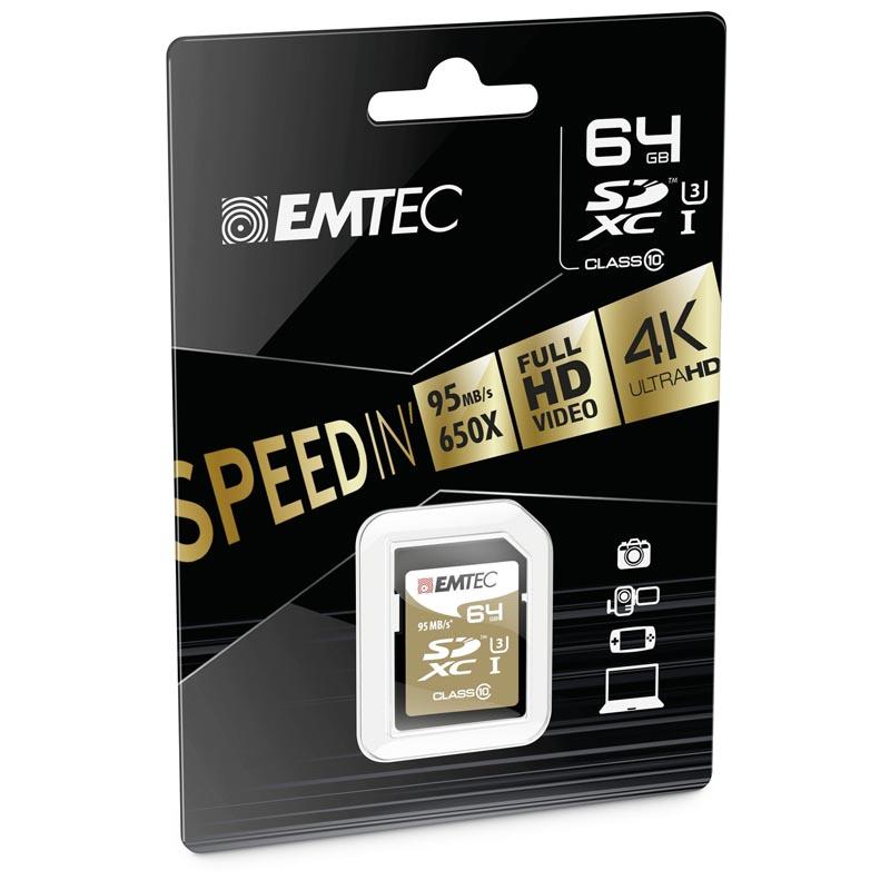 Emtec Speedin SDXC 64GB Clase 10 UHS-I U3