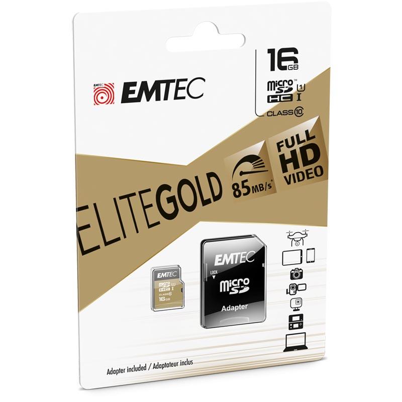 Tarjeta MicroSDHC 16GB Clase 10 UHS-I Emtec EliteGold c/Adaptador SD
