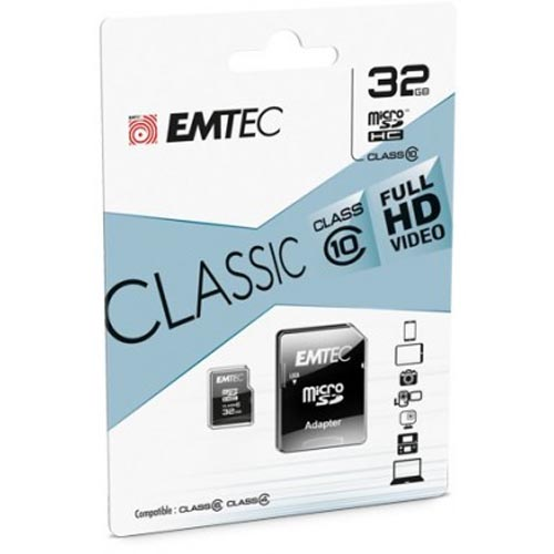 Tarjeta MicroSDHC 32GB Clase 10 Emtec Classic c/Adaptador SD