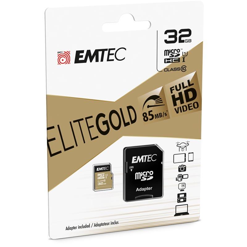 Tarjeta MicroSDHC 32GB Clase 10 UHS-I Emtec EliteGold c/Adaptador SD