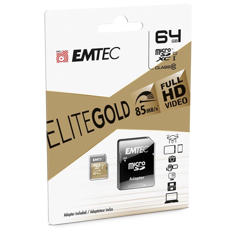 Tarjeta MicroSDXC 64GB Clase 10 UHS-I Emtec EliteGold c/Adaptador SD