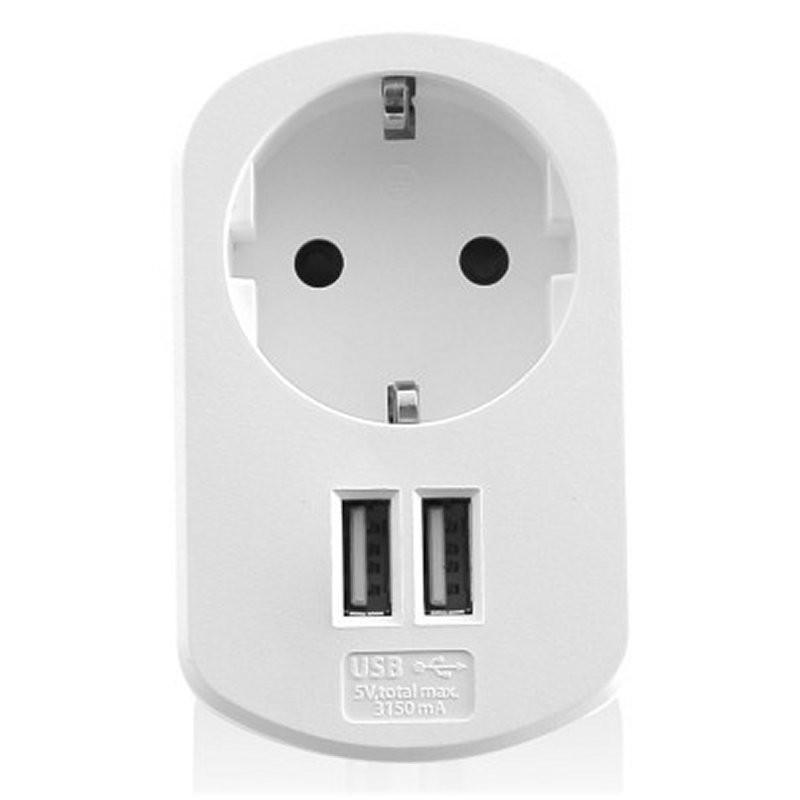 Cargador USB 2 Puertos + Enchufe EWENT EW1211 3.1A