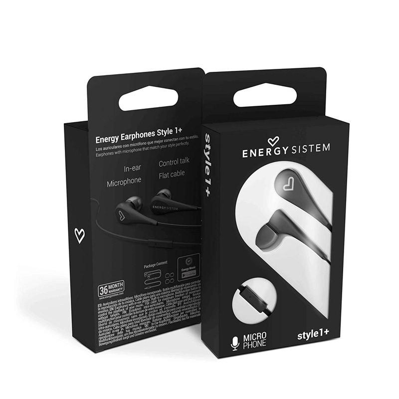 Auriculares con Micrófono Energy Earphones Style 1+ Negro