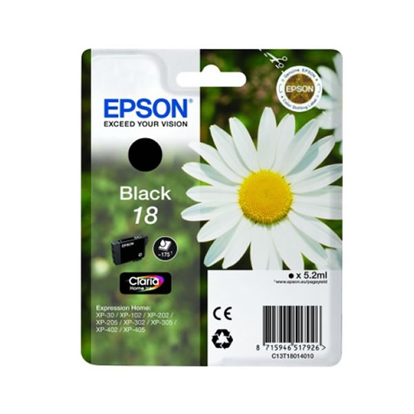 epson 18bk cartucho de tinta original negro. Black Bedroom Furniture Sets. Home Design Ideas