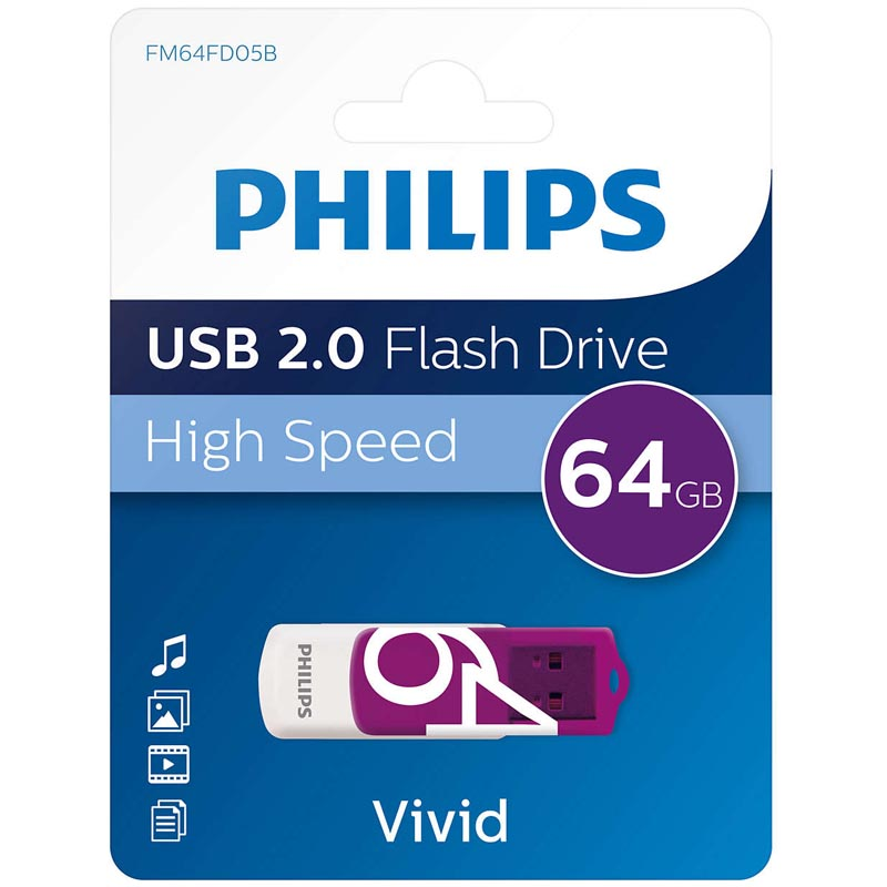 Pendrive 64GB Philips Vivid Edition Purple