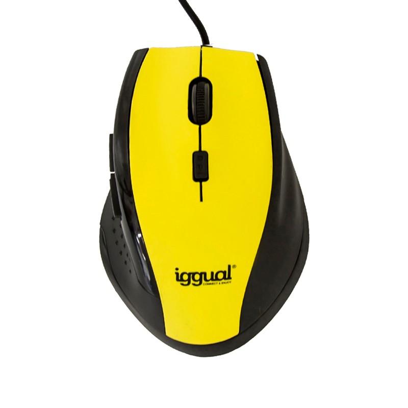 Ratón óptico Iggual WORK-1 1600dpi USB Amarillo