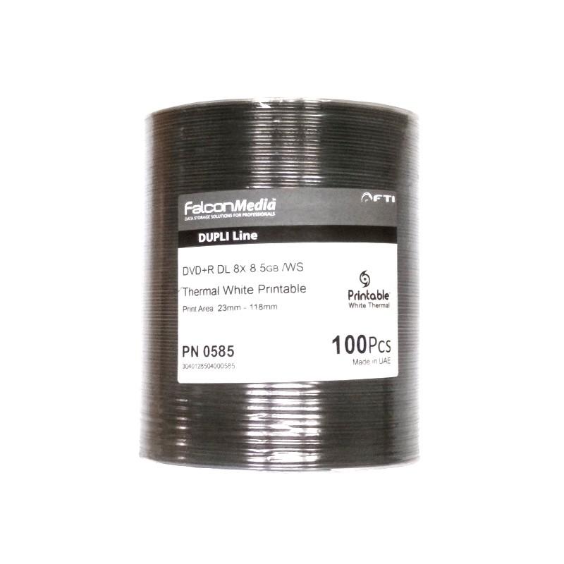 DVD+R Doble Capa 8X FF Thermal Printable FalconMedia Dupli Line Bobina 100 uds