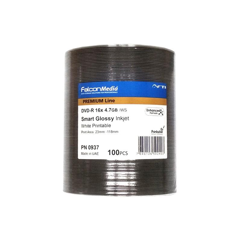 DVD-R 16x FF Smart Glossy Printable FalconMedia Premium Line Bobina 100 uds