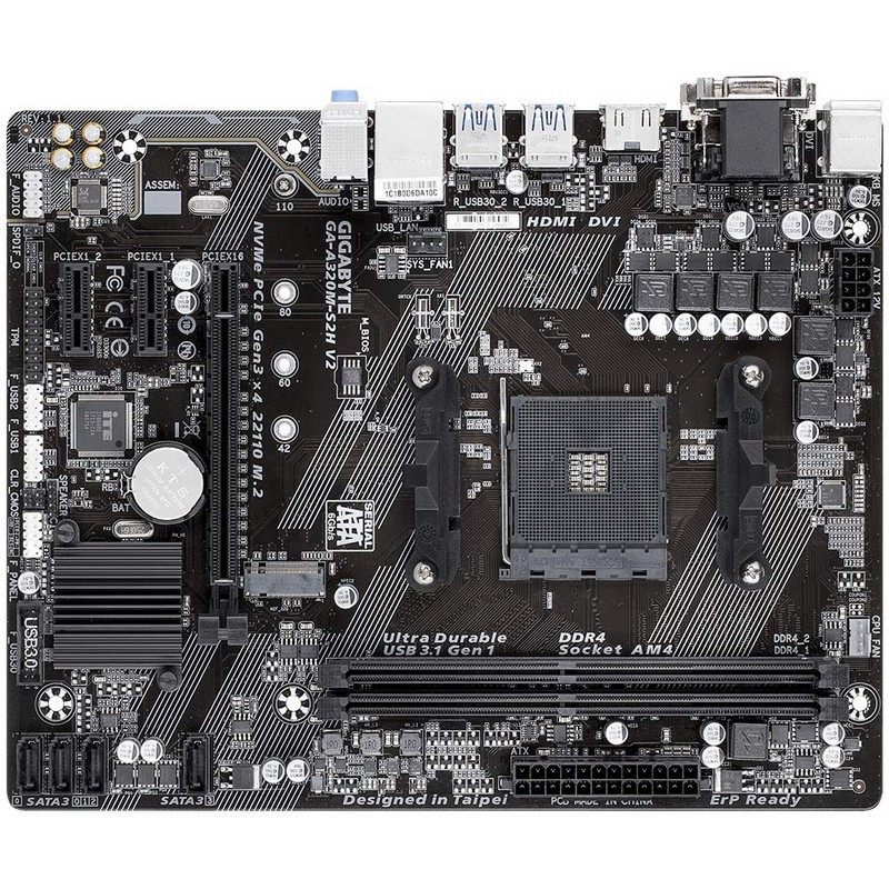 Placa Base Gigabyte A320M-S2H V2 mATX Socket AM4