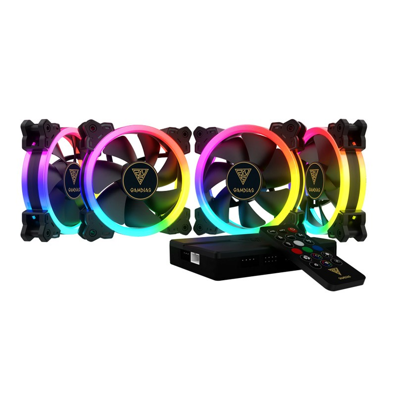 Ventilador PC LED Gamdias Aeolus M1-1204R RGB 120mm + Controlador (4 Unidades)