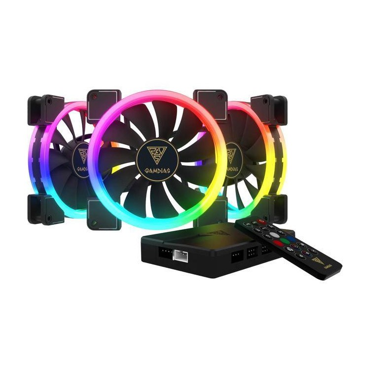 Ventilador PC LED Gamdias Aeolus M1-1403R RGB 140mm + Controlador (3 Unidades)
