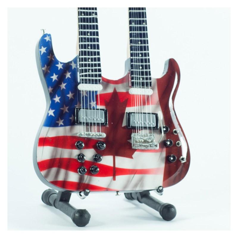 Mini Guitarra De Colección Tributo USA/Canada Flag Doubleneck