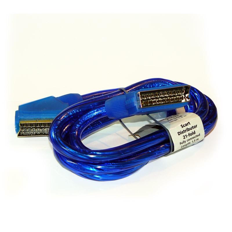 Cable Euroconector (SCART) 21 Pines 1.5m - Azul (Bulk)
