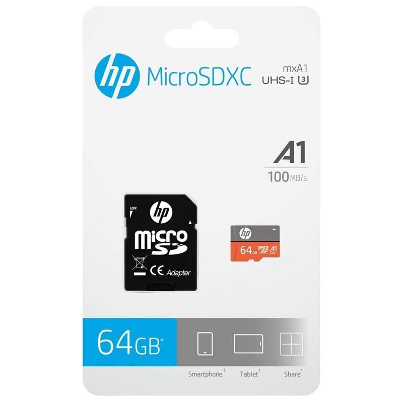 Tarjeta MicroSDXC 64GB Clase A1 UHS-I U3 V30 HP mxA1 c/Adaptador